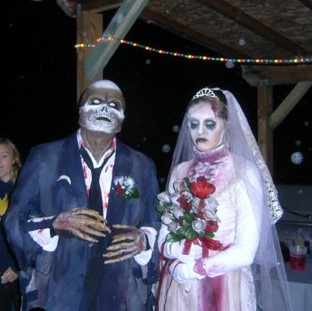 Death the groom with Sophia the bride